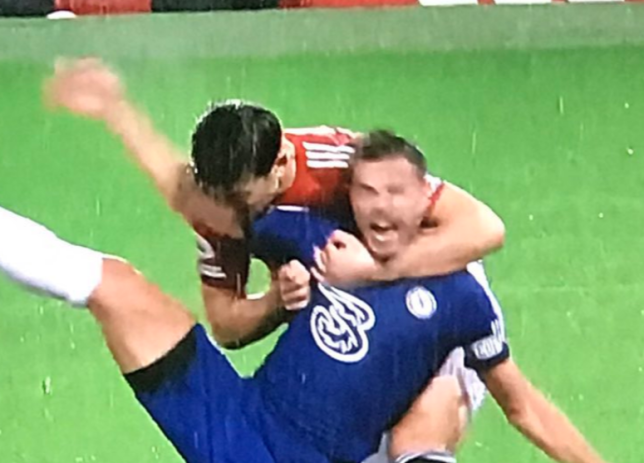Harry Maguire was fortunate to avoid conceding a first half penalty against Chelsea