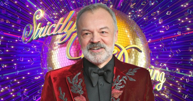 Graham Norton pictured in front of Strictly Come Dancing logo