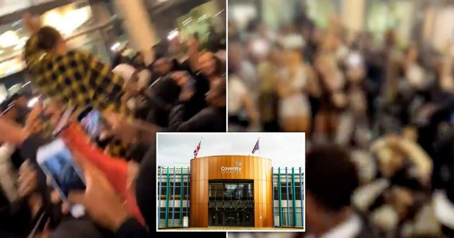 Composition of two photographs of students partying and one inset of the halls of residence