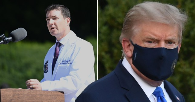 Trump 'fever-free and breathing normally' as he's treated in hospital for virus