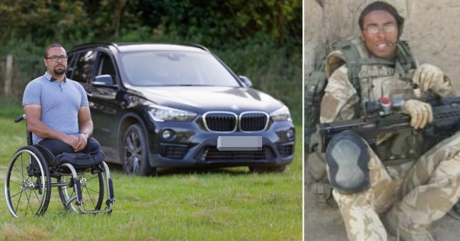 Composition showing the veteran when he was a soldier and a photo of him in a wheelchair in front of his car