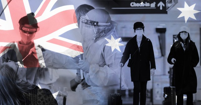Australian flag over backdrop of medics in full PPE and travellers at airports wearing face masks