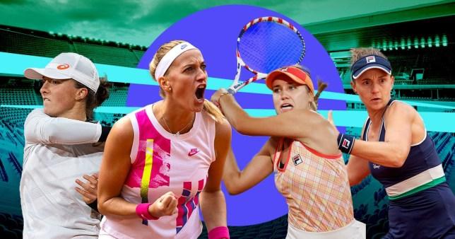 Iga Swiatek, Petra Kvitova, Sofia Kenin and Nadia Podoroska look on ahead of the French Open semi-finals