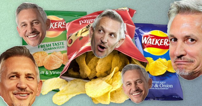 Gary Lineker pictured with Walkers Crisps