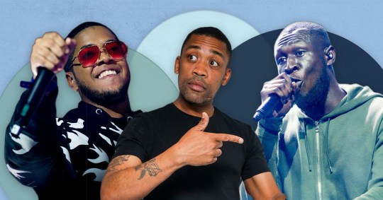 Rappers Chip, Wiley and Stormzy