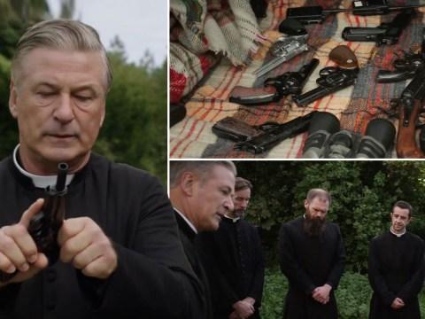 Alec Baldwin leads gun-toting gangster priests in hilarious Pixie teaser