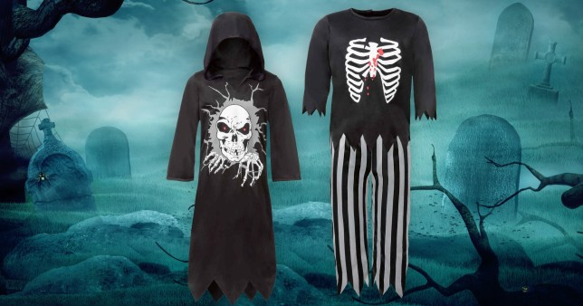 Two children's Halloween costumes on a spooky background of a graveyard in black and blue