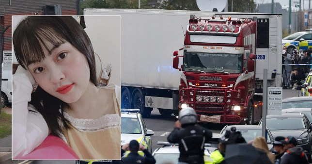 Composition with a photo of one of the migrant victims boxed out onto the lorry
