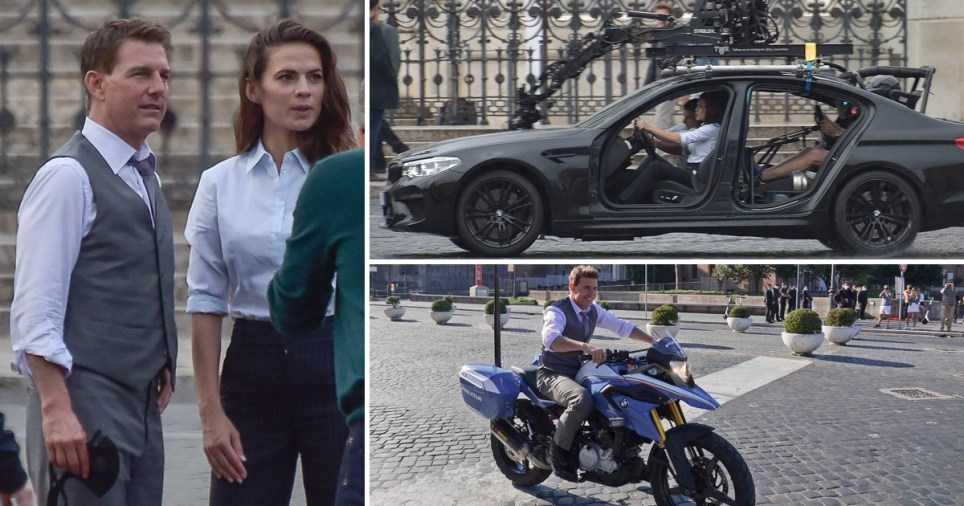 Tom Cruise filming a scene of Misson Impossible 7 on Italian police motorbike at the Fori Imperiali, Rome