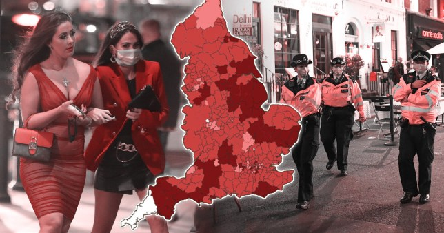 Comp of women out for the evening with map of coronavirus infections across England and police on the street