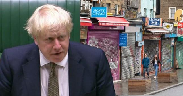 Boris Johnson and shuttered shops