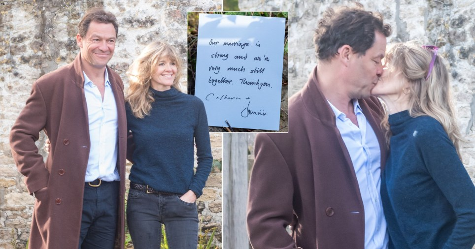 Dominic West kisses wife Catherine FitzGerald