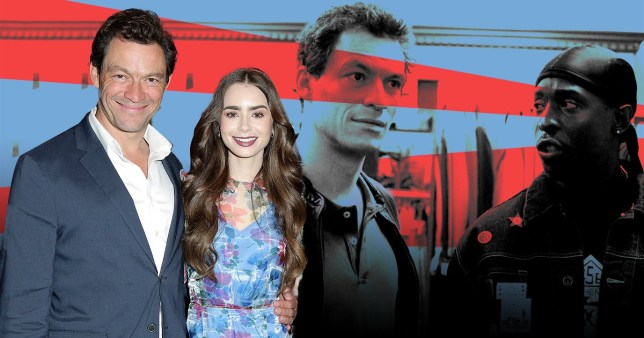 Dominic West in The Wire and with Lily James