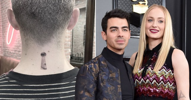 Joe Jonas with new neck tattoo and pictured with wife Sophie Turner