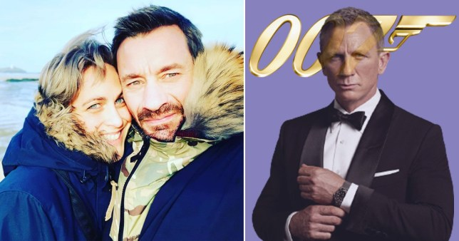Ollie Ollerton and fiance Laura Gander with Daniel Craig as James Bond