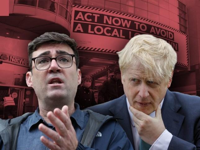Composite image Andy Burnham Boris Johnson