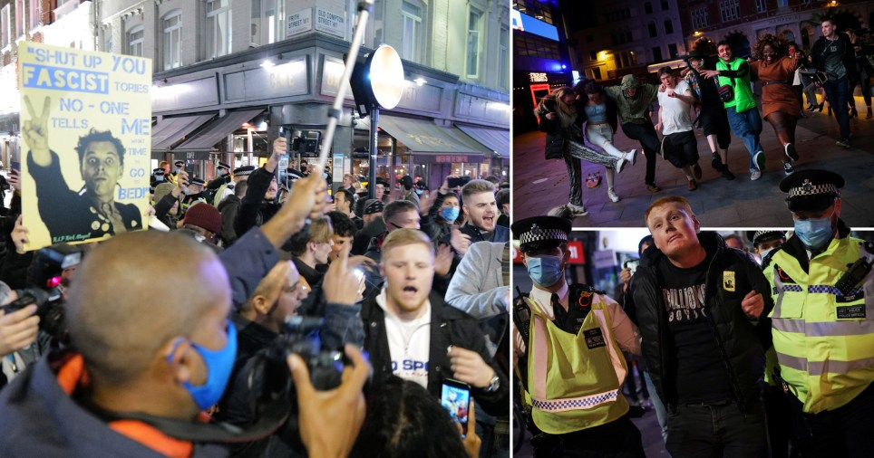 The streets of Soho descended into chaos last night as drinkers refused to go home on the last night before London was plunged into tier two lockdown