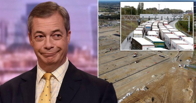 Nigel Farage makes a toad-like expression as it appears he is glancing at a lorry park next to him