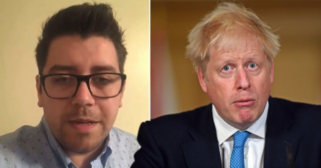 Boris Johnson's confused face appears alongside a screenshot of a young father wearing square glasses and a light blue shirt