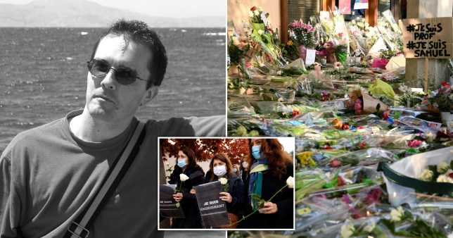 Teacher Samuel Paty, who was beheaded in a Paris suburb on October 16, 2020 and floral tributes