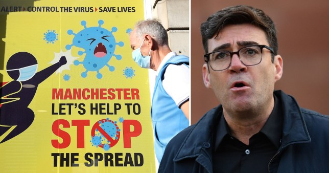 Greater Manchester Mayor Andy Burnham (right) and a coronavirus safety campaign sign in Manchester