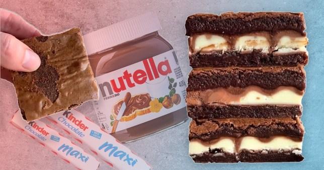 nutella and kinder brownies