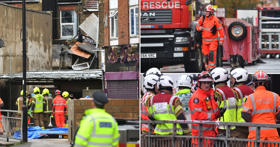 Two people have died at the scene after a suspected gas explosion caused a building to collapse in Ealing, west London