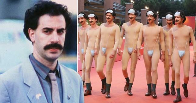 Sacha Baron Cohen as Borat; Borat impersonators attend the red carpet of the movie Borat during the 15th Rome Film Festival