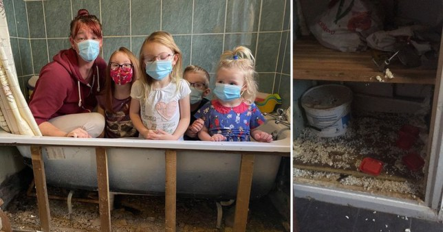 Kelly Davison with daughters Olivia, Angel, grandson Jacob and granddaughter Mianna, posing in the bathtub in their home in Saltash, Cornwall, where they say they have a rat infestation that Cornwall Housing haven't done enough to stop