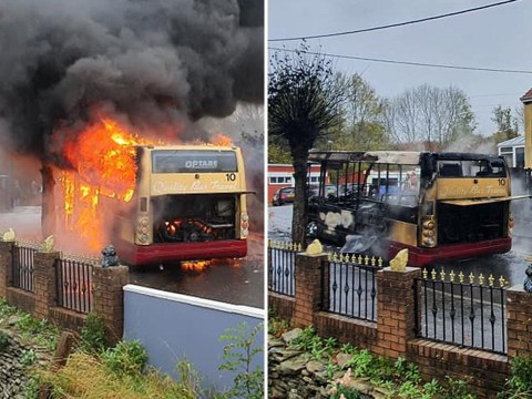 Bus driver escaped coach 'just in time' before it burst into flames