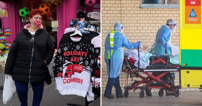 Composite image coronavirus christmas shopping and a patient being taken to hospital