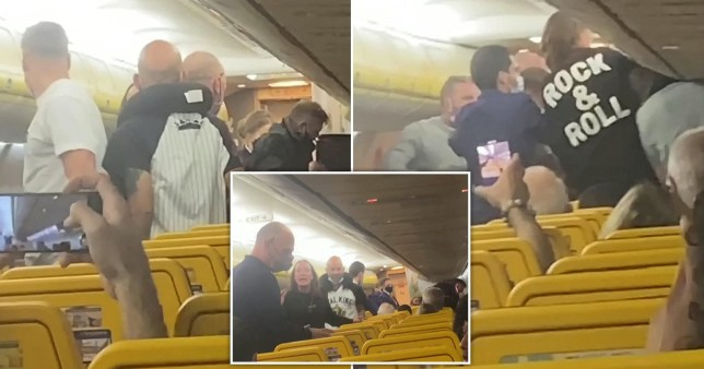 Passengers run down the aisle of a Ryanair flight from Malaga to Manchester to join in mass brawl