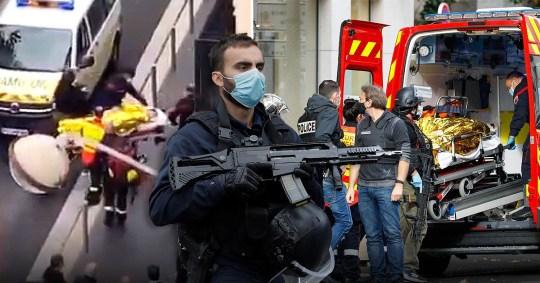 Un agent de sécurité sécurise la zone après une attaque au couteau à l'église Notre-Dame de Nice, France