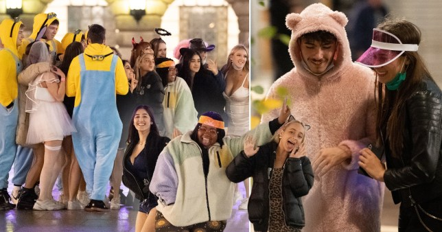 People in fancy dress in Nottingham after pubs and bars close, as the city moves into tier three from midnight (Picture: PA)