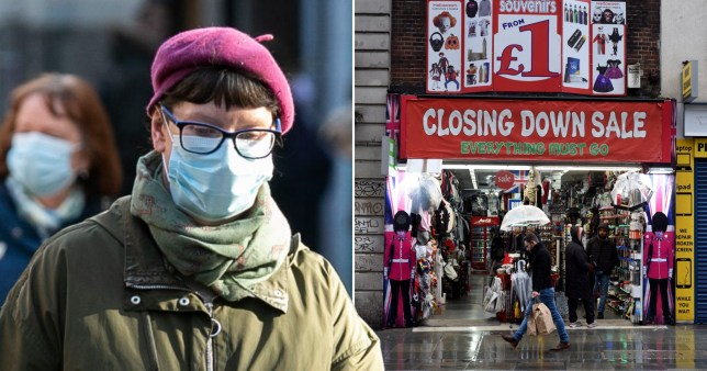 Woman wearing face mask and closing down sale at shop in London