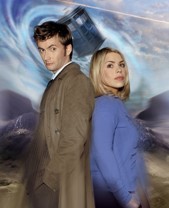 David Tennant as the Doctor and Billie Piper as Rose Tyler