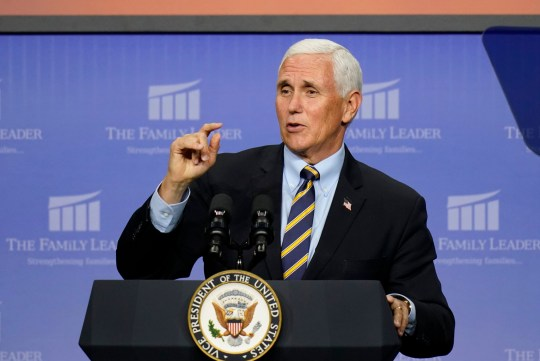 Vice President Mike Pence speaks at an event hosted by The Family Leader Foundation Thursday, Oct. 1, 2020, in Des Moines, Iowa.