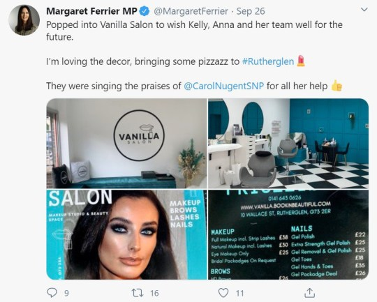 Tweet by SNP MP Margaret Ferrier, who visited a number of businesses in her constituency town of Rutherglen, near Glasgow, right after she went for a coronavirus test with mild symptoms. In her Tweet she says she 'popped into Vanilla salon' on the same day she went for her test