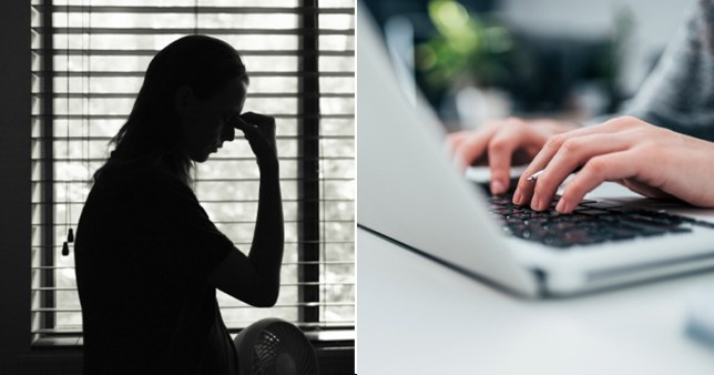 Composition showing stock pic of domestic abuse victim and stock of someone on their laptop