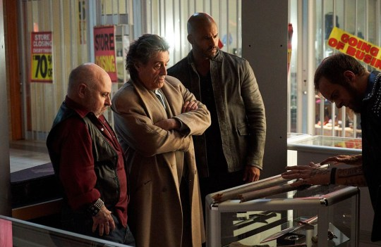Editorial use only. No book cover usage. Mandatory Credit: Photo by Ian Watson/Starz!/Amazon/Kobal/REX (10198453ac) Clark Middleton as Sindri, Ian McShane as Mr. Wednesday, Ricky Whittle as Shadow Moon and Jeremy Raymond as Dvalin 'American Gods' TV Show Season 2 - 2019 A recently released ex-convict named Shadow meets a mysterious man who calls himself Wednesday and who knows more than he first seems to about Shadow's life and past.