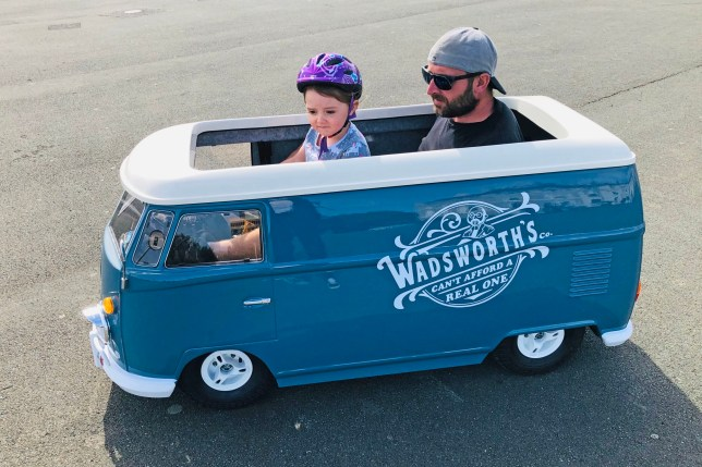 Tom Wadsworth and Alice in their tiny camper van