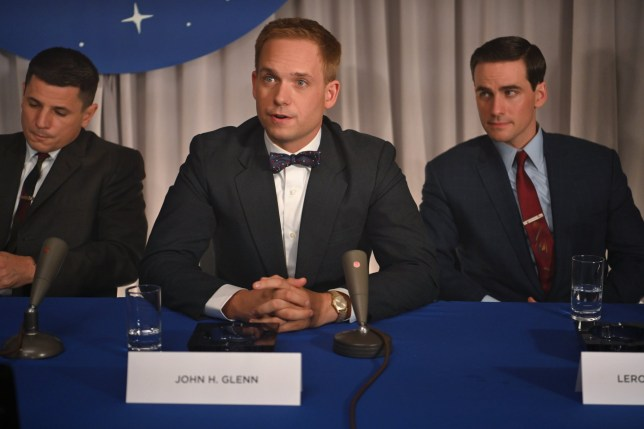 Mercury astronauts, John Glenn (center) played by Patrick J. Adams, Gus Grissom (L) played by Michael Trotter and Gordon Cooper (R) played by Colin O???Donoghue, during a press conference in National Geographic's THE RIGHT STUFF streaming on Disney+. (National Geographic/Gene Page)