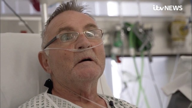 Intensive care patient William Murray is in hospital with his wife (Picture: ITV News)