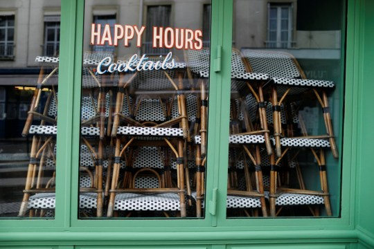 A closed bar is seen during stricter restrictions due to the coronavirus disease (COVID-19) outbreak in Paris, France, October 13, 2020. REUTERS/Charles Platiau