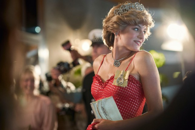 The Crown S4. Picture shows: Diana Princess of Wales (EMMA CORRIN). Filming Location: Military Hostel Front, Malaga