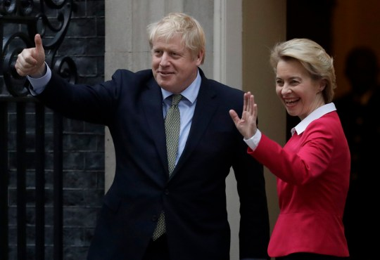 FILE - In this Wednesday, Jan. 8, 2020 file photo, Britain's Prime Minister Boris Johnson and European Commission President Ursula von der Leyen gesture towards the media outside 10 Downing Street in London. On the eve of a European Union summit which British Prime Minister Boris Johnson had set as a deadline to get a trade agreement between both sides, talks remained in a deep rut over fundamental differences regarding anything from state aid to fisheries. To push negotiators toward that slim area of possible common ground, EU Commission President Ursula von der Leyen will have a video call with Johnson later Wednesday, Oct. 14, 2020. (AP Photo/Matt Dunham, File)