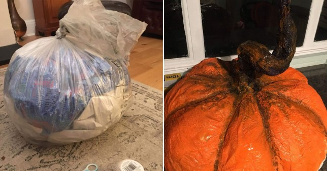 rubbish bag decorated to look like pumpkin