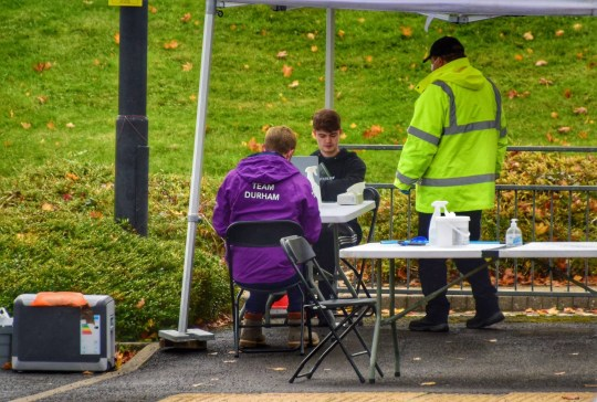 Dated: 15/10/2020 COVID-19 CAMPUS ... A mobile testing centre set up at Durham University today (THURS), where almost 1,000 students have tested positive for coronavirus in the last seven days according to new figures released today. See story and VIDEO by North News