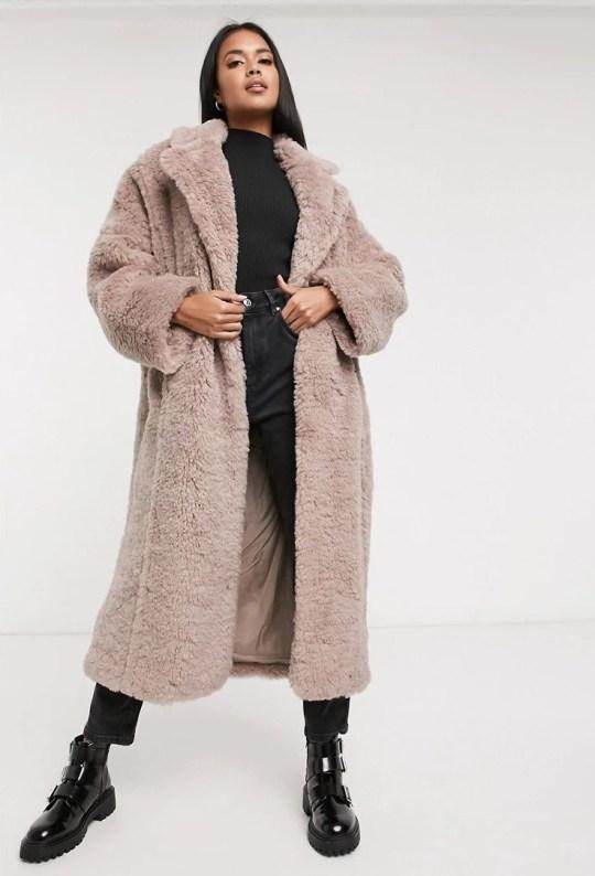 ASOS DESIGN faux fur hero longline maxi coat in mauve (Picture: Asos)