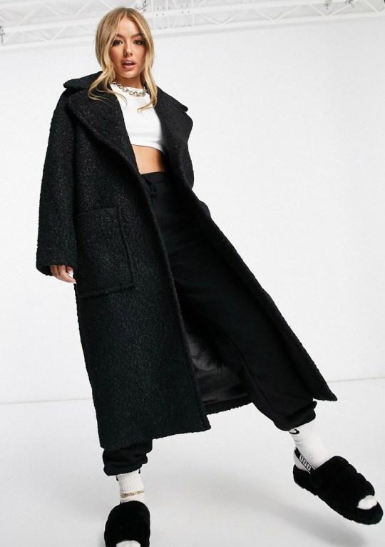UGG Hattie long oversized coat in black (Picture: Asos)
